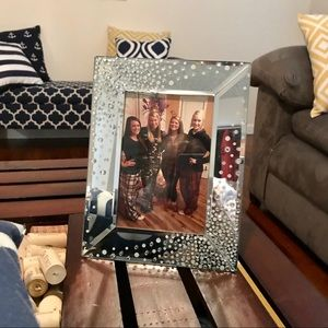 Mirror rhinestone silver picture frame